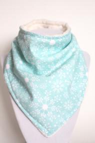 Snowflakes bandana bib with ivory minky back.