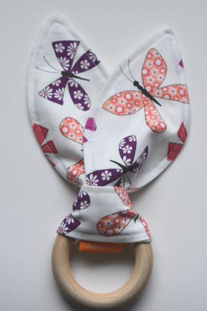 Pink and Purple butterfly wooden teether