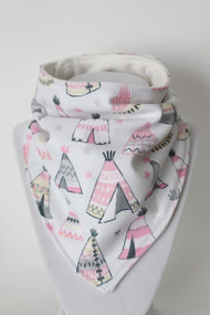 Dreamcatcher Teepees bandana bib with organic bamboo back.