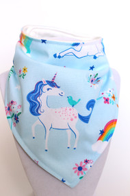 Unicorn Blue bandana bib with organic bamboo back.