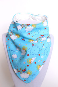 Rainbows bandana bib with organic bamboo back.