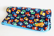 Blue Foxes blanket with bright blue minky back