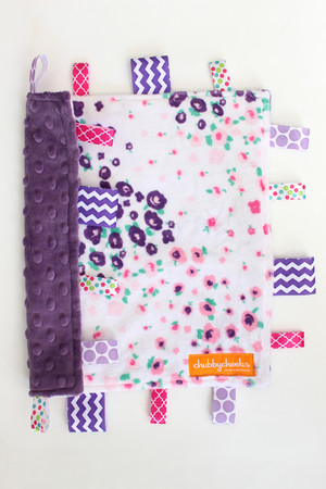 Forest Fields Pink small tag blanket with purple backing