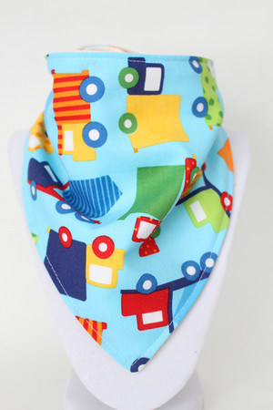 Colourful Construction bandana bib with organic bamboo back.