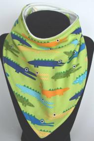 Alligator bamboo backed bandana bib