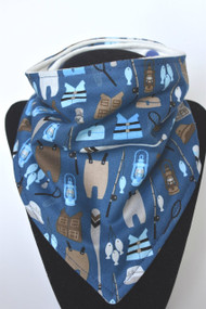 Blue Fishing Bears Equipment bandana bib with bamboo back
