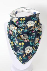 Hedgehog Floral bandana bib with bamboo back
