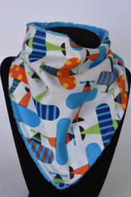 Orange and Blue Planes bandana bib with blue minky back