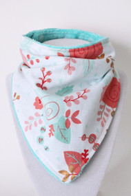 Beautiful Blooms bandana bib with teal minky back.