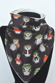 Campsite Owls bandana bib with bamboo back