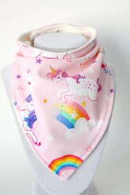 Pink Unicorn bandana bib with bamboo back