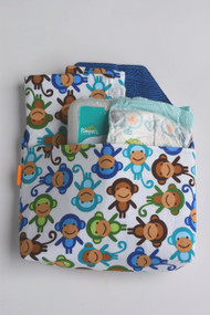 Monkey Diaper-to-go bag open view