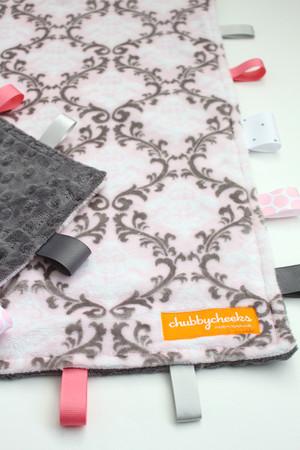 Pink Damask large tag blanket