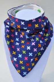 Bandana Bib - Colourful Crosses (Bamboo)