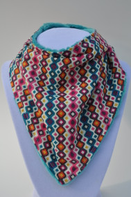 Bandana Bib - Pink Teal Pattern (teal)