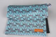 Zig Zag Zebra stroller blanket with black minky back