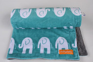 Teal Elephants Stroller Blanket