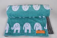 Teal Elephants Stroller Blanket