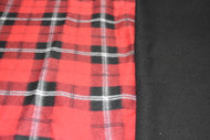 Red Tartan with black fleece back