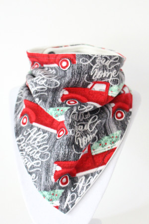 Holiday - All Roads Lead Home Flannel bandana bib with bamboo back.