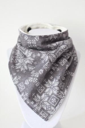 Holiday - Fair Isle Sweater Grey Flannel bandana bib with bamboo back.