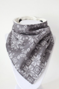 Holiday - Fair Isle Sweater Grey Flannel bandana bib with bamboo back.
