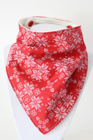 Holiday - Fair Isle Sweater Red bandana bib with bamboo back.