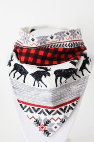 Holiday Lodge Stripe bandana bib with bamboo back.