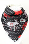 Holiday Woodland Animals bandana bib with bamboo back.