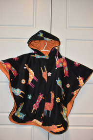 llama car seat poncho with orange inside