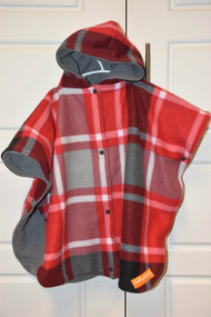 Red/ Grey plaid car seat poncho