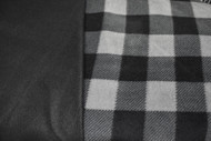 Grey / Black Buffalo Plaid fleece with black inside