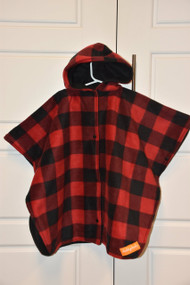 Red / Black Buffalo Plaid poncho.  Completed look with black fleece inside.