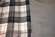 Grey/Tan/Black Plaid car seat poncho with grey inside