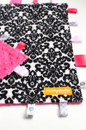 Black Damask large tag blanket