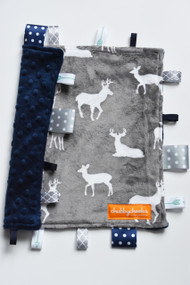 Grey Deer with Navy small tag blanket