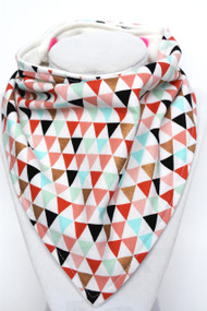 Metallic Rose Gold Triangles bandana bib with bamboo back