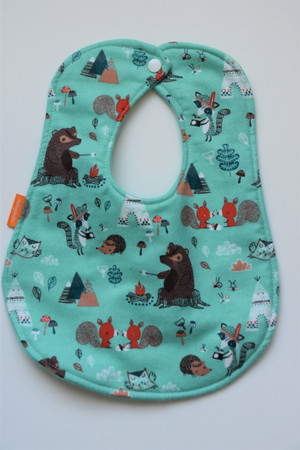 Campfire Friends with teal flannel back classic bib
