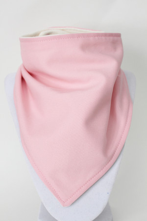 Solid Pale Pink bandana bib with bamboo back.