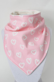 Love Hearts bandana bib with bamboo back.