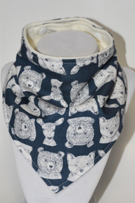 Bear Friends bandana bib with bamboo back.