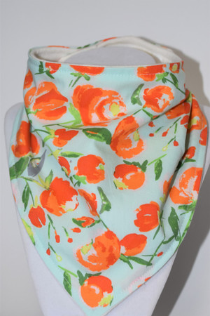 Peach Blooms bandana bib with bamboo back