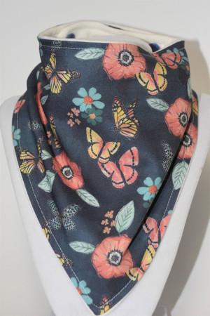 Butterfly Garden bandana bib with bamboo back
