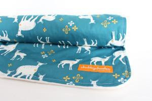 Teal Deer blanket with ivory minky back