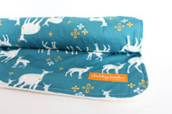 Teal Deer blanket with ivory minky back