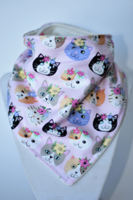 Fancy Cats bandana bib with bamboo backing