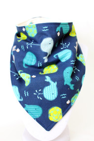 Whales bandana bib with bamboo backing.