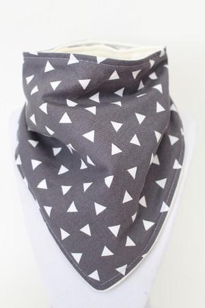 Grey Triangles bandana bib with bamboo backing
