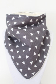 Grey Triangles bandana bib with bamboo backing