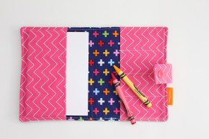 Colourful Crosses crayon wallet open view